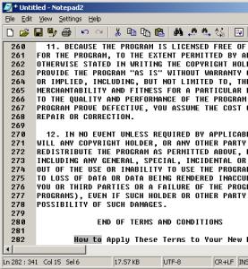 A screenshot of Notepad2, enriched with a toolbar.