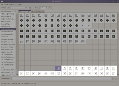 Screenshot of GNOME Character Map for Regional Indicator Symbol Letters